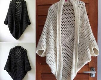 Crochet cardigan, Cocoon cardigan, Afghan sweater, crochet shrug, crochet sweater, cocoon sweater