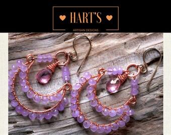Mystic Topaz Jade 14K Gold Chandelier Earrings