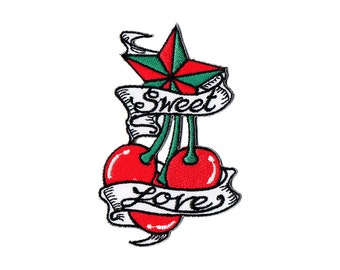 Cherry Patch - Tattoo Cherries Embroidered Iron on Patch / Tattoo Iron on Applique