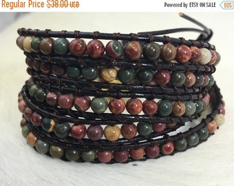 SALE Bracelet, Leather Wrap Bracelet, JasperBracelet, Stacked Bracelet, Beaded Bracelet, Brown leather bracelet, Jasper, 5 wrap, multi color