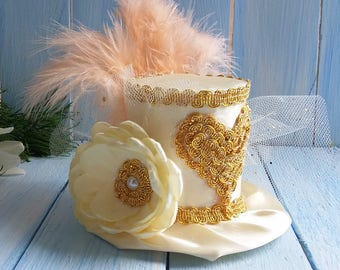 Mini Top Hat Headband Wedding Hat Gold Mini Top Hat Mad Hatter Mini Tea Party Hat Alice in Wonderland Ivory Top Hat Fascinator Birthday Hat