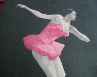 Vintage Ballerina Ballet Dancer Painting Home Decor Collectible Wall Hanging  Folk Art Repurpose Free Shipping
