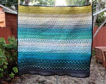 Modern Blue & Green Animal Striped Baby Blanket / Lap Quilt