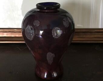 1970s Handblown Signed Art Glass Vase