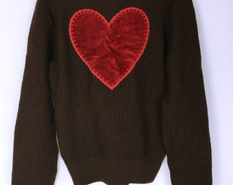 Moschino jeans back velor heart brown knit sweater