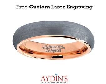 Tungsten Wedding Band - Mens Wedding Band - Womens Wedding Band - Rose Gold Tungsten - Domed Ring - Brushed - 5mm - Tungsten Wedding Ring