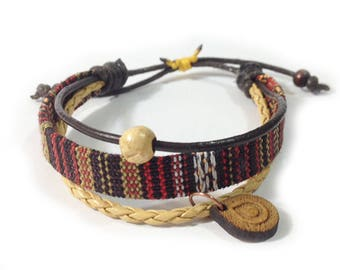 Leather ethnic bracelet - 9707