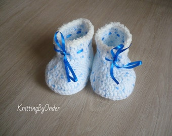 Crochet baby boy booties, Baby boy shoes, Baby shower gift, Baby slippers, Newborn shoes booties boots, New baby shoes, 0-3 month