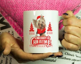 Dog Yorkie Mug Merry Christmas Coffee Cup Mug