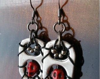 Pop Tab Red Skull Earrings