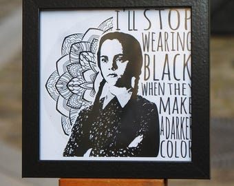 Framed print - Wednesday Addams - Format 14 x 14 cm