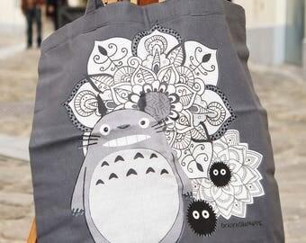 Tote Bag grey Totoro Mandala