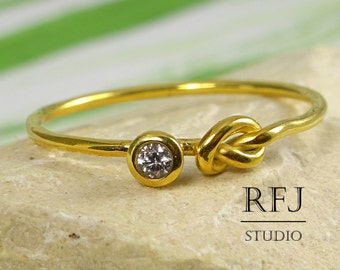 Yellow Gold  Knot Lab Diamond Ring, CZ  2 mm Love Knot 24K Gold Plated Silver Ring White Diamond Gemstone Friendship Gold Plated Ring CZ