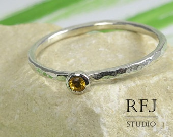Natural Citrine Hammered Silver Ring, 2 mm Round Cut Yellow Citrine Ring with Medium Texture, Sterling Stack Earth Mined Citrine Ring