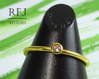 24K Gold Plated Natural Pink Tourmaline Ring, 2mm Round Cut October Birthstone Yellow Gold Plated Ring Stacking Genuine Tourmaline Gold Ring