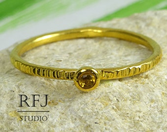 Gold  Natural Citrine Textured Ring, November Jewelry, 2mm Round Cut Yellow Citrine Ring, 24K Yellow Gold Plated Citrine Stacking Ring