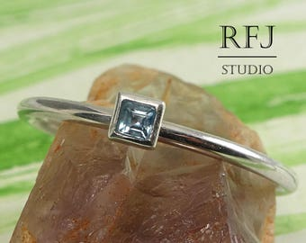 Square Natural Swiss Blue Topaz Silver Ring, December Birthstone Jewelry Square Setting Princes Cut 2x2 mm Swiss Topaz Stacked Classic Rings