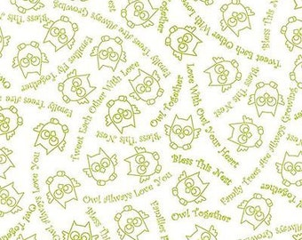 """Owl Fabric: Owl In The Family Owl Sketch & Words Light Green by Quilting Treasures 100% cotton fabric by the yard 36""""x43"""" (K403)"""