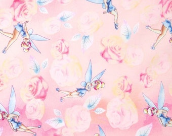 "Disney Fabric: Disney Tinker Bell Fabric Tinkerbell with Roses Pink 100% cotton fabric by yard 36""x43"" (SC264)"