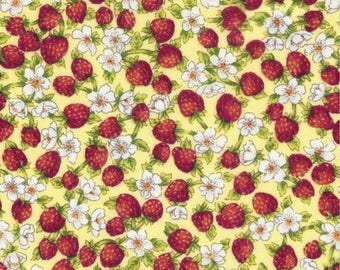 "Fruit Fabric, Strawberry Fabric: David Textile Tiny Strawberries and Flowers  100% cotton Fabric by the yard 36""x43"" (DA53)"