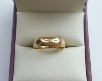 Vintage 9k Gold wedding band - size 6 engagement promise men women gift proposal antique retro thick wide ring