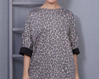 Animal Print Slouch Jumper- Jersey Sateen, Leopard Top