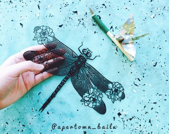 Original Papercut – Handcut – Papercutting – Paper Cutting Art – Paper Illustration – Paper Art – Gift for Her – Handmade - Dragonfly