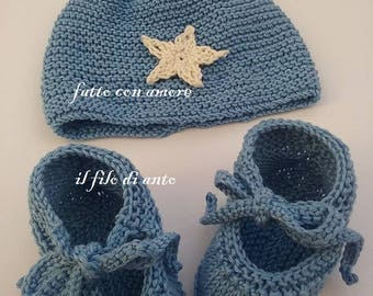 Blue Hat and booties for baby girl/or