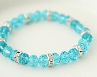 Blue Crystals Bracelet - Gifts under 10 - Girls Bracelet - Kids Bracelet - Kids Jewelry - Wedding Braclelet