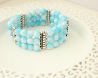 Blue Bracelet - Blue Glass Bracelet - Glass Bead Cuff Bracelet - Blue Cuff Bracelet - Gift for Wife - Something Blue - Blue Jewelry