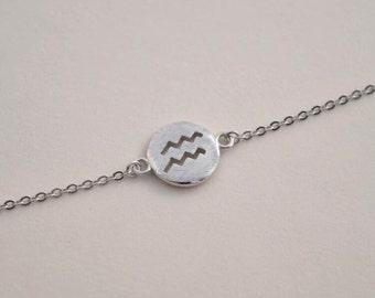 personalized zodiac bracelet aquarius brith sign charm bracelet silver delicate bracelet bridesmaid bracelet