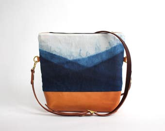 Waxed Canvas and Leather Indigo-dyed Convertible Crossbody Bag/Clutch - mountain - LAST ONE