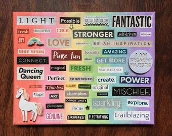 Rainbow Unicorn Word Collage, Wall Art