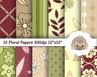 Digital Paper Pack, Green Digital Paper, Floral Paper, Digital Paper, Printable Paper, Commercial Use, Scrapbook Paper, Instant Download
