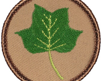 Poplar Leaf Patch (185) 2 Inch Diameter Embroidered Patch