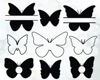 Silhouette Digital Clipart Butterflies Collection - Clipart Butterflies SVG files - Instant Download files for Cricut - Silhouette Clipart