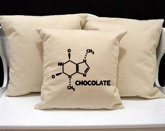 Chemistry Pillow, Science Pillow, novelty throw pillow, pillow gift, nerd gift, nerd pillow, modern home decor, 20x20, Chocolate Pillow