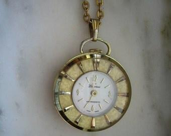 Vintage Lucerne Gold Tone Watch Pendant Necklace
