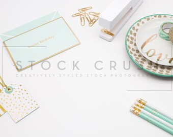 Styled Stock / Teal + White + Gold Styled Desktop / Styled Stock Photography / Styled Photos / Styled Flatlay / Stock Images / Styled Images