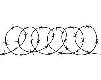 Barbed Wire #2 Circle Razor Barb Fence Fencing Jail Western Protection Security Prison Logo .SVG .EPS .PNG Clipart Vector Cricut Cut Cutting