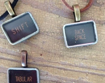 Necklace Vintage typewriter key pendant handmade
