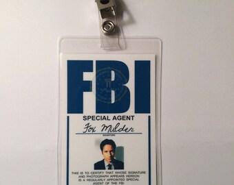 X FILES Fox Mulder Badge ID Name Tag Card Costume Cosplay Prop Laminate