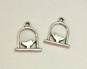 40-Silver bird on swing charms -17mm