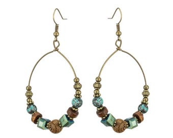 Bohemian Bead Hoop Earrings