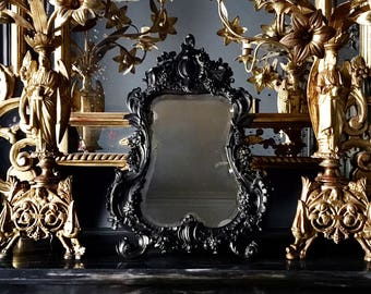 Antique French Vanity Mirror, An Exceptional and Extremely Rare Ornate Black Frame with Beveled Glass Mirror, Mid 19th Century