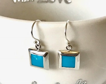 Turquoise and Sterling Silver Square or Diamond Earrings, gift for her, solid silver/Handmade