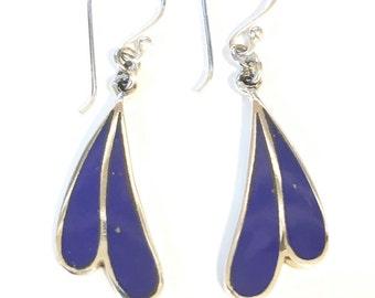Lapis Lazuli Wave Drop Earrings/Semi Precious Blue Stone Earrings/Handmade/solid Silver