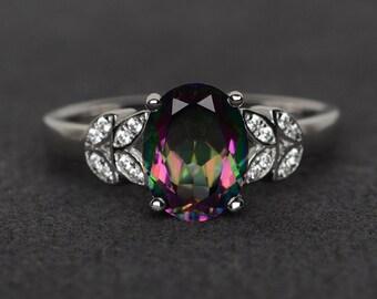 mystic topaz ring silver rainbow topaz ring mystic topaz engagement ring oval cut