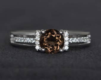 round cut smoky quartz ring smoky crystal ring brown gemstone ring engagement ring sterling silver ring