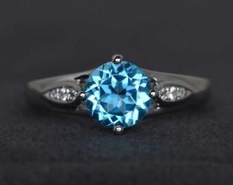 Swiss blue topaz ring round cut engagement ring blue gemstone ring sterling silver ring November birthstone ring